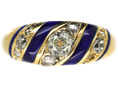 Early Victorian Royal Blue Enamel & Diamond 18ct Gold Ring