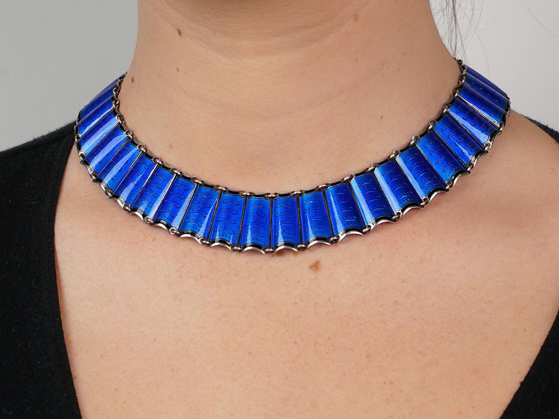 Silver & Blue Enamel Collar by Einar Modahl