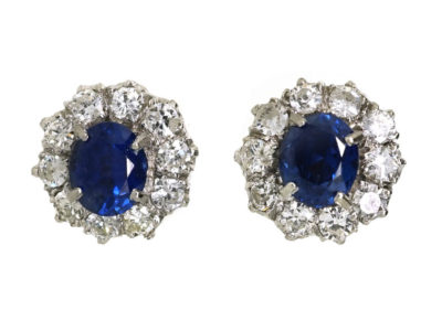 18ct White Gold, Sapphire & Diamond Cluster Earrings
