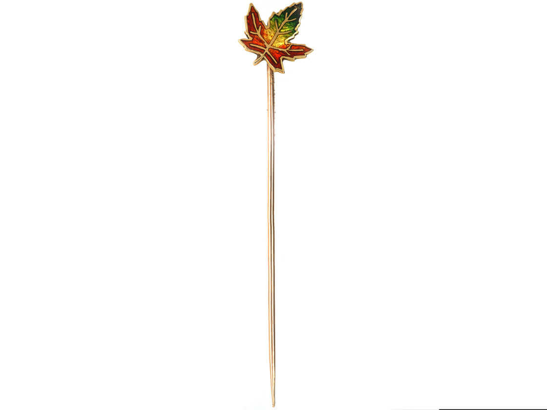 Vintage 18ct Gold, Red, Yellow & Green Maple Leaf Enamel Tie Pin