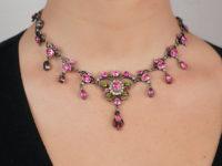 Edwardian Silver & Paste Necklace in Original Case