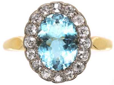 Edwardian 18ct Gold, Aquamarine & Diamond Cluster Ring