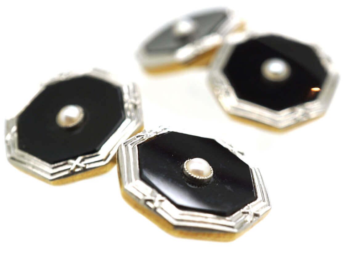 Art Deco Platinum & 18ct Gold Cufflinks Set With Onyx & Natural Split Pearls