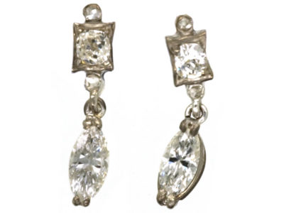 18ct White Gold Diamond Marquise Drop Earrings