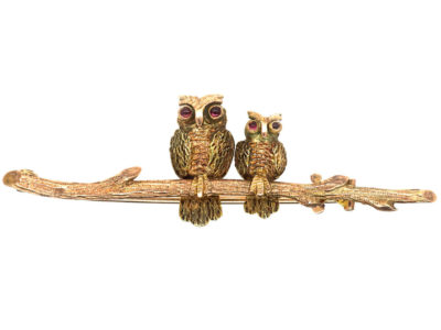 Edwardian 9ct Mother & Baby Owl Brooch