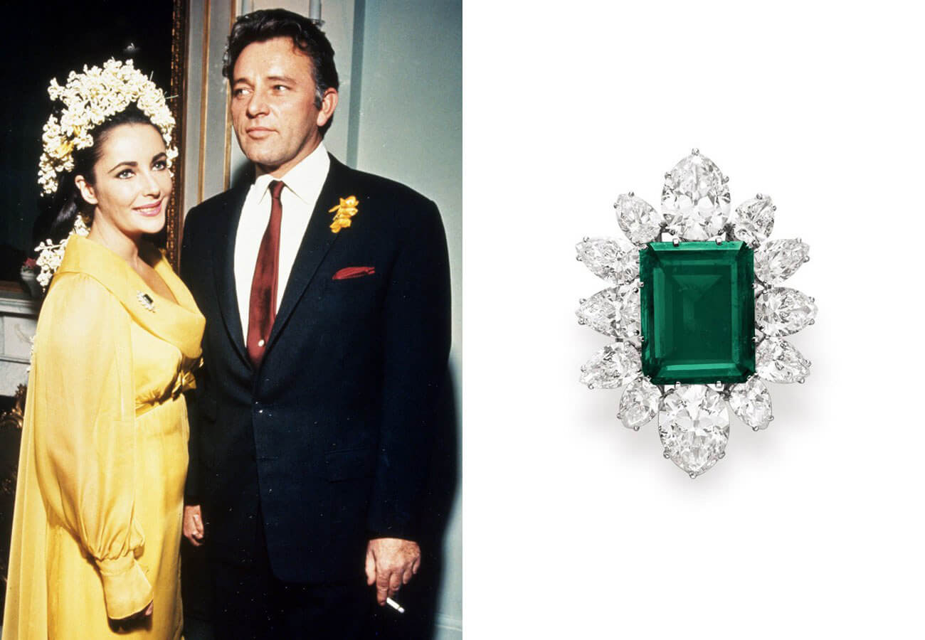 Elizabeth Taylor and Richard Burton, and one of Taylor's iconic emerald rings