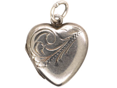 Mid Century Heart Shaped Silver Locket