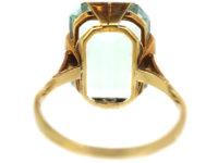 Art Deco 14ct Gold Rectangular Aquamarine Ring