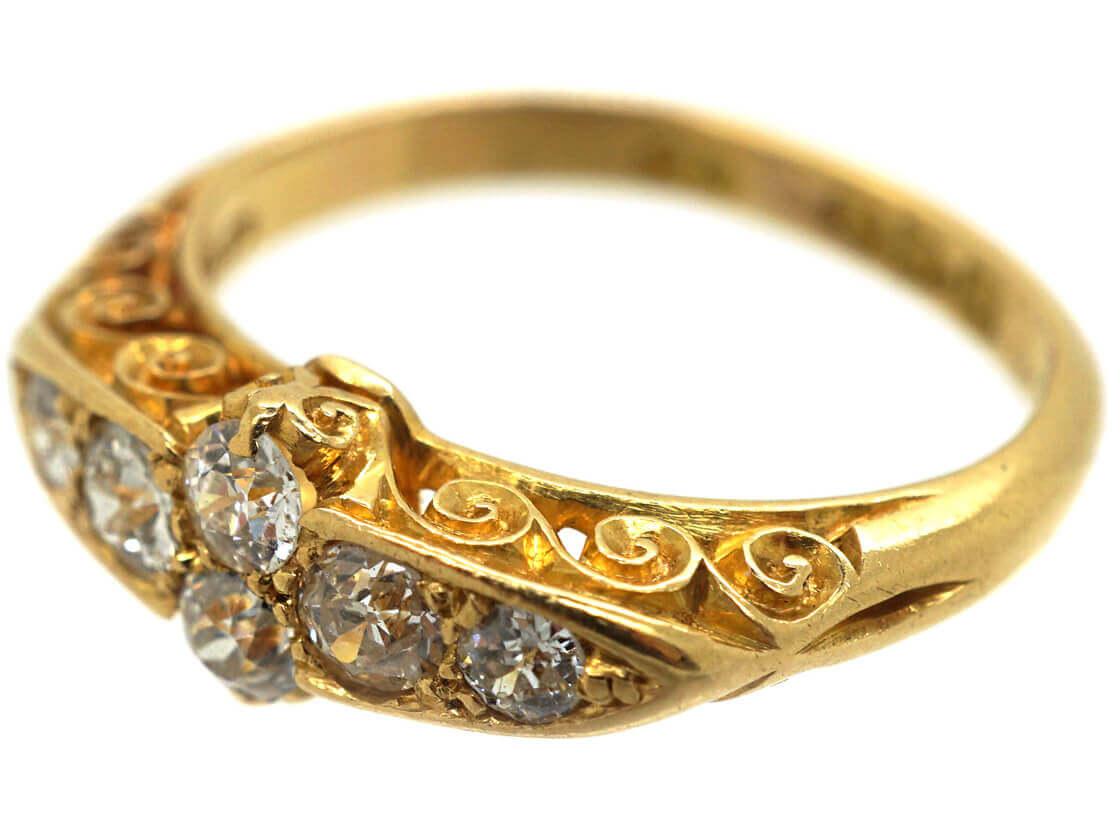 Edwardian 18ct Gold Diamond Carved Half Hoop Ring