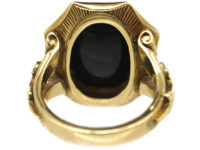 19th Century Signet Ring set with a Bloodstone Intaglio with Grapes