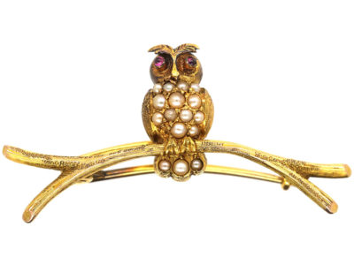 Edwardian 15ct Gold Pearly Owl Brooch