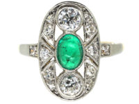 Art Deco Emerald & Diamond Oval Shaped Ring