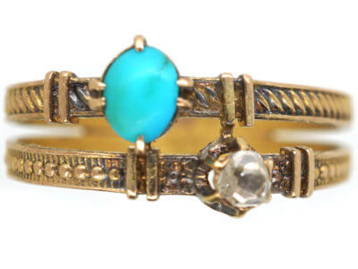 Edwardian 14ct Gold Turquoise & Diamond Ring