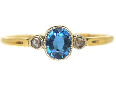 18ct Gold Aquamarine & Diamond Three Stone Ring
