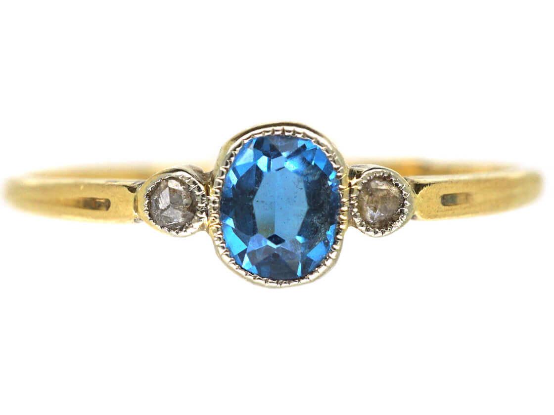 18ct Gold Aquamarine & Diamond Three Stone Ring
