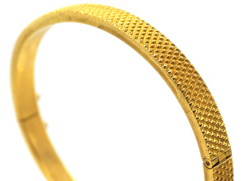 Victorian 15ct Gold Hobnail Design Bangle