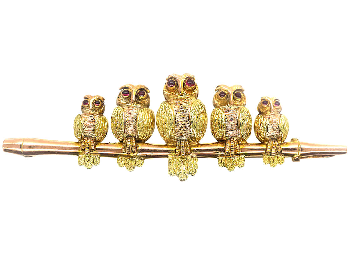Edwardian 9ct Two Colour Gold Brooch of a Little Owl Family