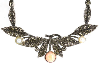 Art Deco Silver, Marcasite, Coral & Pearl Necklace