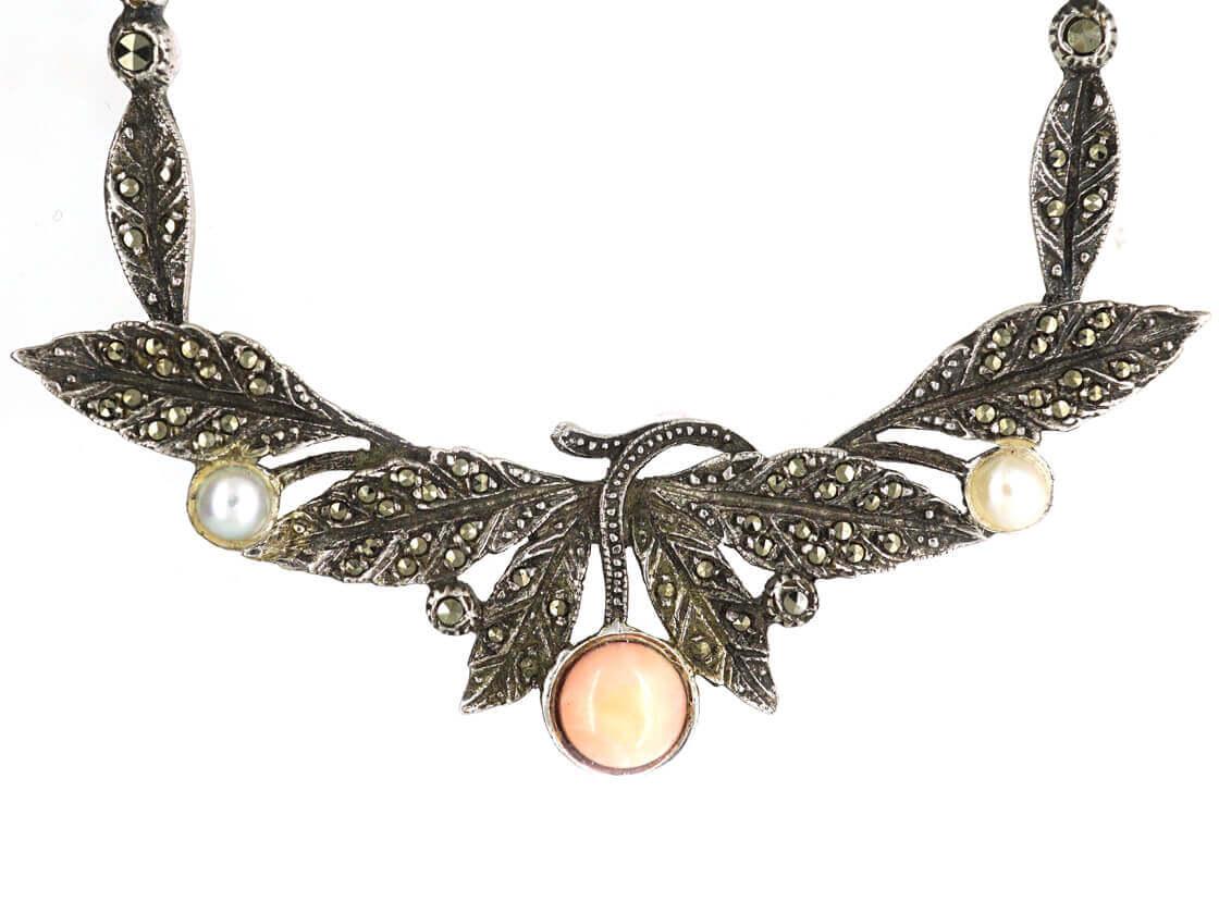 Art Deco Silver, Marcasite, Coral & Pearl Necklace