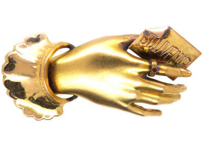 Victorian 15ct Gold Hand Brooch Holding a Souvenir