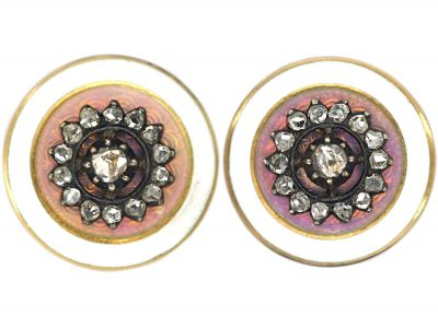Edwardian 18ct Gold, Enamel & Rose Diamond Round Earrings