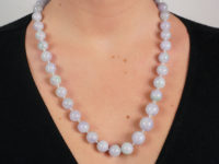 Lavender Jade Bead Necklace With 18ct White Gold & Diamond Clasp