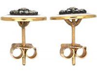 Edwardian 18ct Gold, Enamel & Rose Diamond Round Earrings