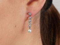 Edwardian 15ct Gold & Platinum, Diamond & Pearl Drop Earrings
