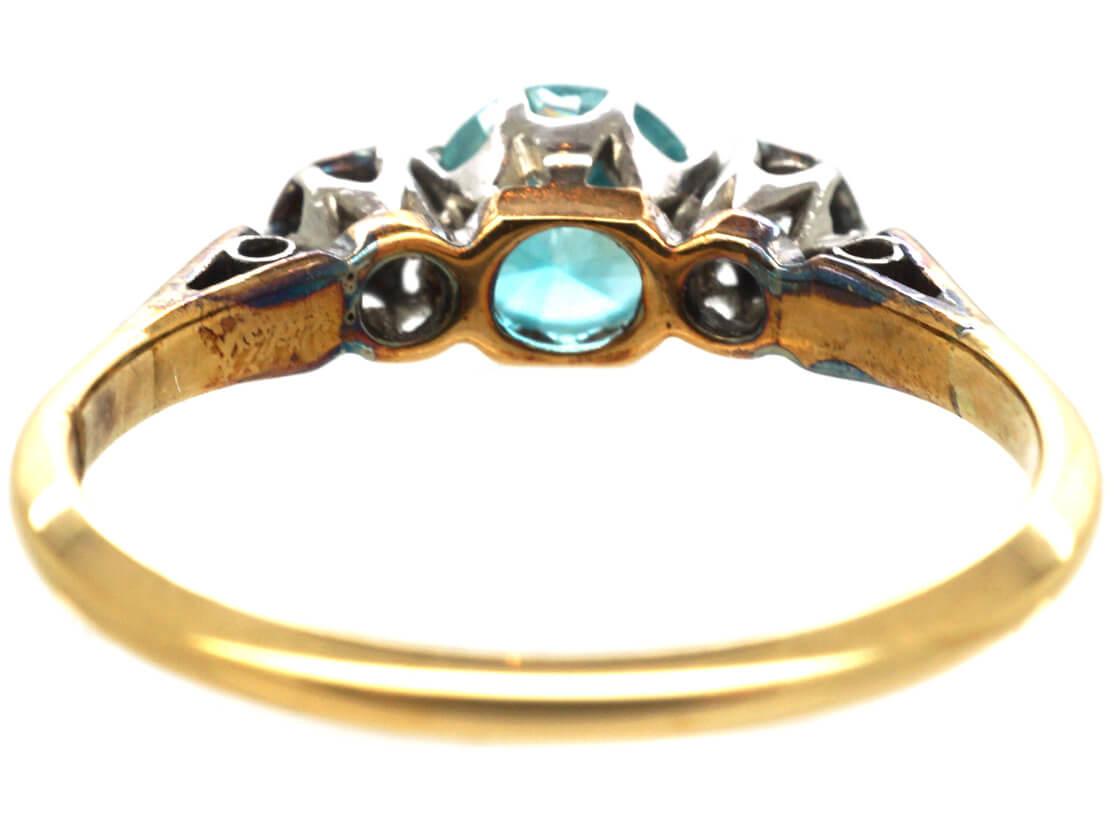 Art Deco 18ct Gold Blue Zircon & Diamond Ring
