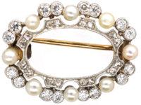 Edwardian 15ct Gold & Platinum, Natural Pearl & Diamond Oval Brooch