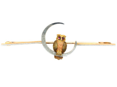 Edwardian 15ct Two Colour Gold & Platinum Owl in the Moon Brooch