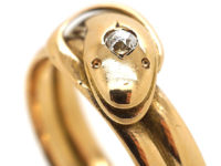 Victorian 15ct Gold Snake Ring set with a Diamond