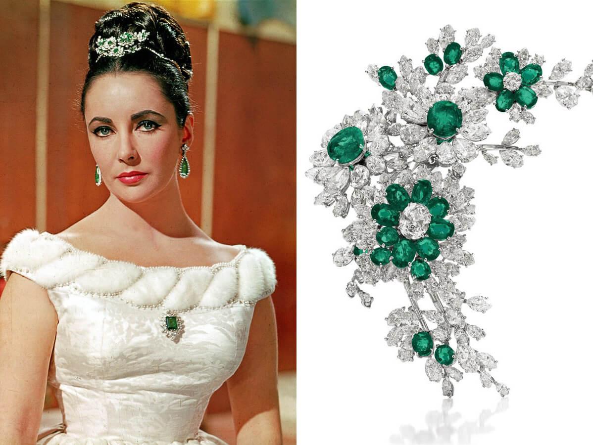 Elizabeth Taylor loved wearing emerald jewellery