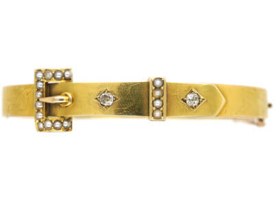 Edwardian 15ct Gold Buckle Bangle set with Diamonds & Natural Split Pearls