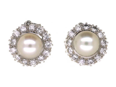 18ct White Gold Diamond & Pearl Cluster Earrings