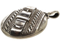 Victorian Silver Oval Locket with Buckle Design