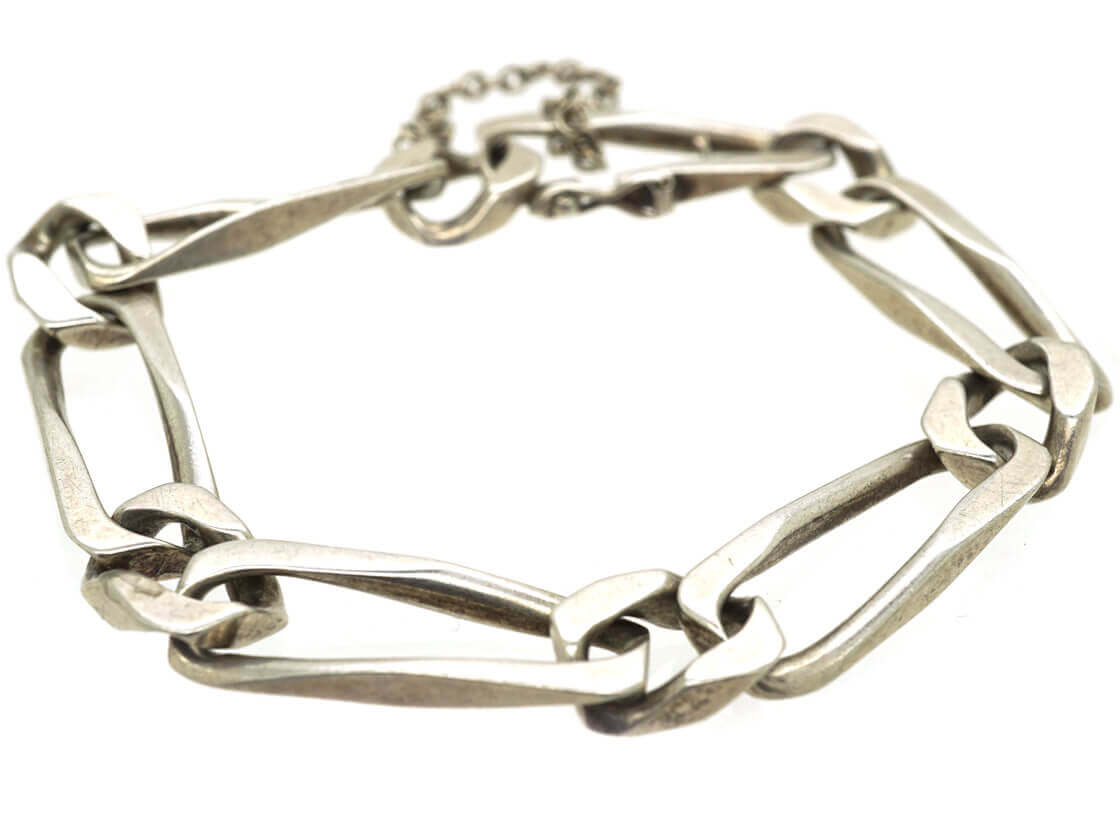 French 1970s Silver Long Curb Link Bracelet