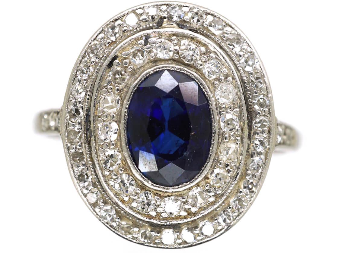 Edwardian Platinum, Sapphire & Diamond Oval Double Cluster Ring