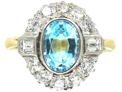 18ct Gold Aquamarine & Diamond Cluster Ring