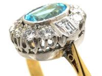 18ct Gold Aquamarine & Diamond Cluster Ring
