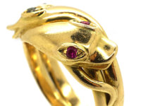 Victorian 18ct Gold Double Snake Ring