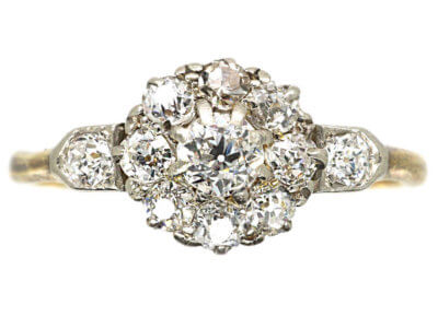 Edwardian 18ct Gold & Diamond Cluster Ring with Diamond Set Shoulders