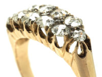 Victorian 18ct Gold, Two Row Diamond Boat Shaped Ring