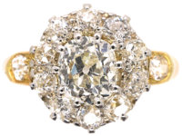 Edwardian 18ct Gold Diamond Cluster Ring with Diamond Set Shoulders