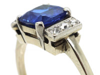 Art Deco 18ct White Gold & Sapphire Ring with Diamonds on either Side