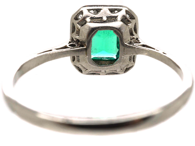 Art Deco Platinum, Emerald & Diamond Rectangular Ring