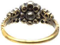 Victorian Diamond Cluster Ring with Diamond Set Leaf Shoulders