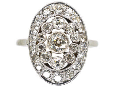 Art Deco French Platinum & Diamond Oval Cluster Ring