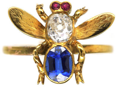 15ct Gold Diamond, Sapphire & Ruby Bee Ring