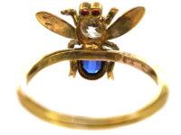 15ct Gold Diamond, Sapphire & Ruby Bee Ring
